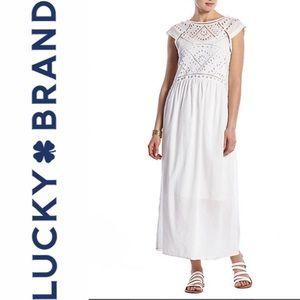 Lucky brand white eyelet midi/maxi dress.